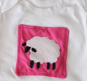 Sheep applique on baby onesie or baby vest