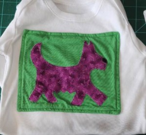 Scottish Terrier dog applique on baby onesie or baby vest
