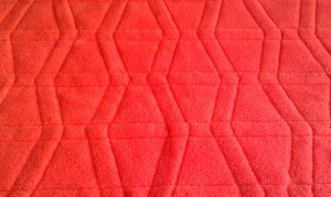 orange fleece backing on mini tumbler quilt