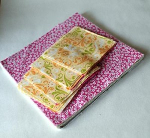 """Moda Sunkissed Layer Cake being cut into 5"""" squares"""