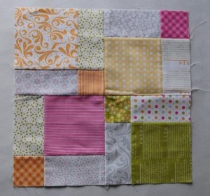 Disappearing 9 patch block made from a Moda Sunkissed charm pack