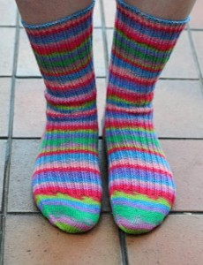 Hand knitted stripey socks