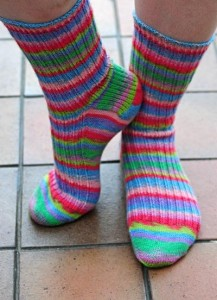 Handknitted socks knitted in Regia Design Line Easter