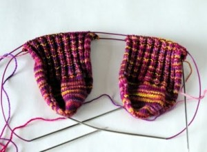 Incomplete handknitted socks