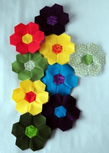 Hexagon flowers made from a Simply Solids scrap pack with a few hexagons from printed scraps