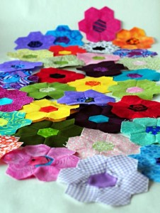 Lots of hexagon flowers