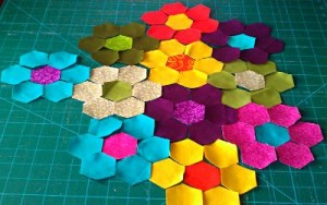 hexagon squares cut out & ready to sew