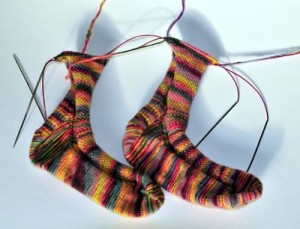hand knitted socks two at at time toe up