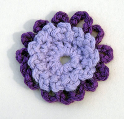 Scabious crocheted flower: inner petals lilac & outer petals dark purple