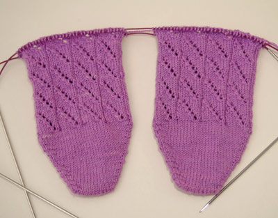Toe-up Diagonal Lace Socks in Purple Koigu