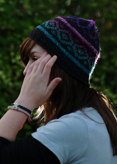 Fake Isle Hat in Cascade 220 & Noro Silk Garden
