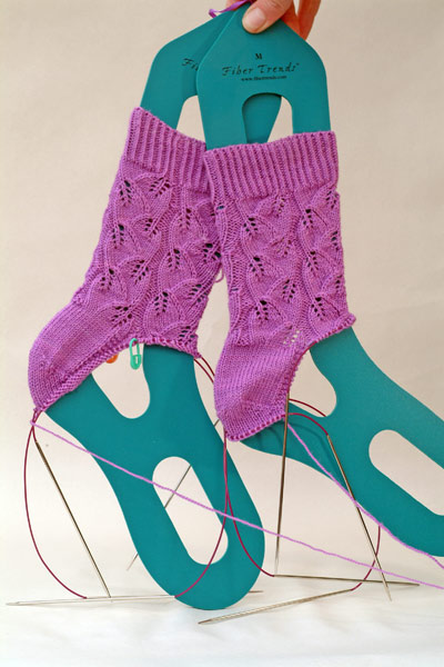 failed Embossed Leaves socks in purple Koigu KPM