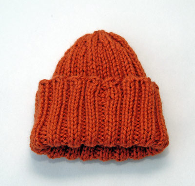 Orange Ribbed Baby Hat
